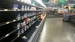 Photo taken of nerly empty Walmart coolers over the weekend