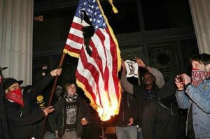 Oakland Protesters Burning the American Flag